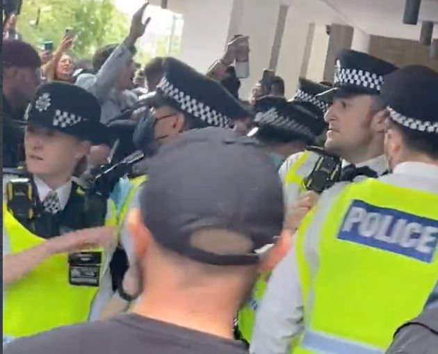 A still from the footage outside the BBC