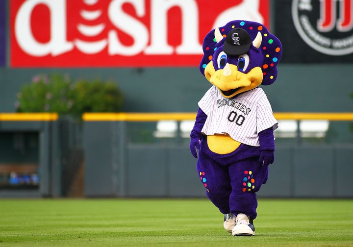 The Rockies mascot Dinger walks on the field prior to a game between the Colorado Rockies and the visiting Miami Marlins at Coors Field in Denver.