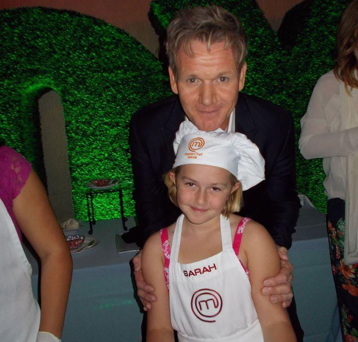 "Sarah Lane and Gordon Ramsay during the filming of Season 1 of ""MasterChef Junior."""