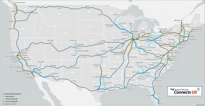 A map released by Amtrak earlier this year shows the possibility of new and enhanced rail connections across the United State