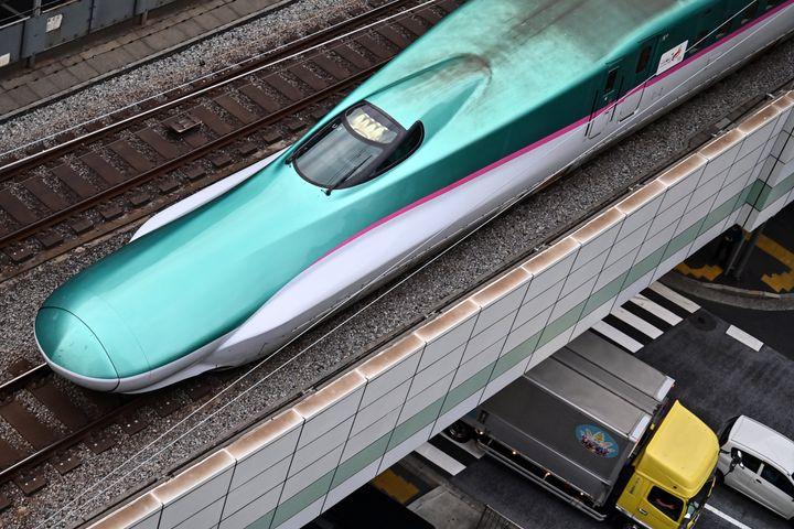 "A ""shinkansen"" E5 series, or high-speed bullet train, is seen in Tokyo."