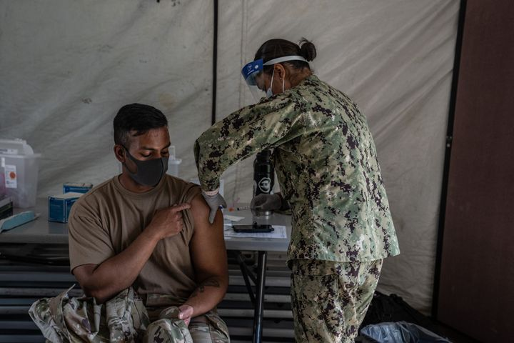 A program to inoculate all service personnel and their families against COVID-19 was held last April on Okinawa, Japan, home