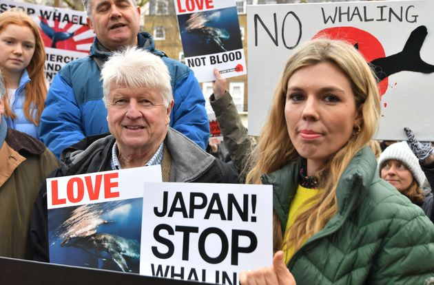 Stanley Johnson and Carrie Johnson at an anti-whaling protest outside the Japanese Embassy in central
