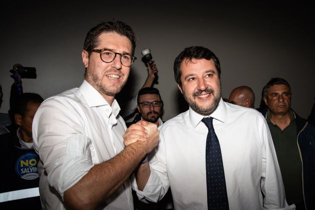 NAPLES, ITALY - NOVEMBER 05: The Leader of the party Lega Matteo Salvini and the regional coordinator...