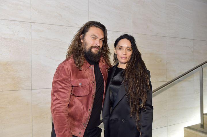 Jason Momoa (left) and wife Lisa Bonet in 2020.