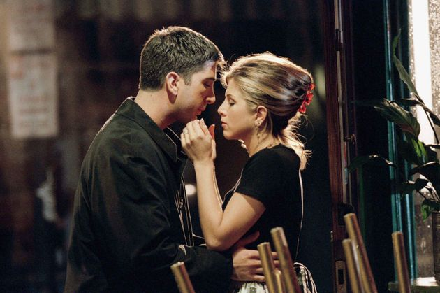 David and Jen in character as Ross and Rachel in
