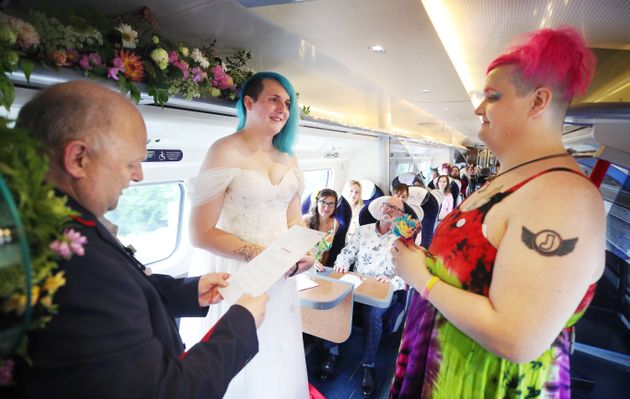 The couple had to wait until they got their gender recognition certificates