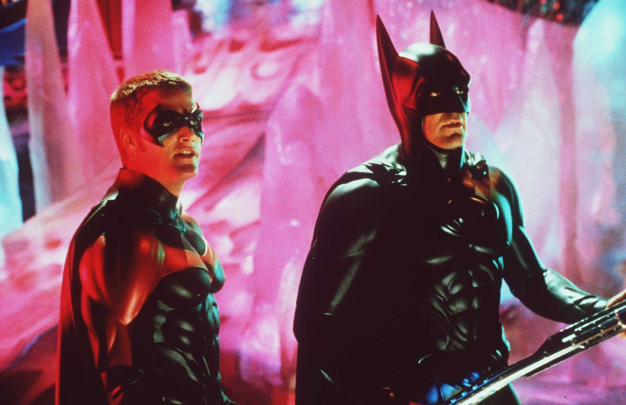 """Chris O'Donnel and George Clooney as Batman and Robin from 1995's """"Batman Forever."""""""
