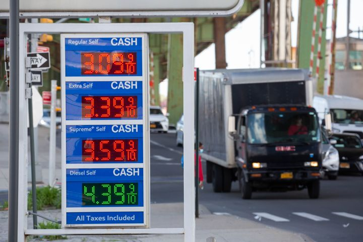 Gas prices at an Exxon Mobil station in the Brooklyn, New York, in May.
