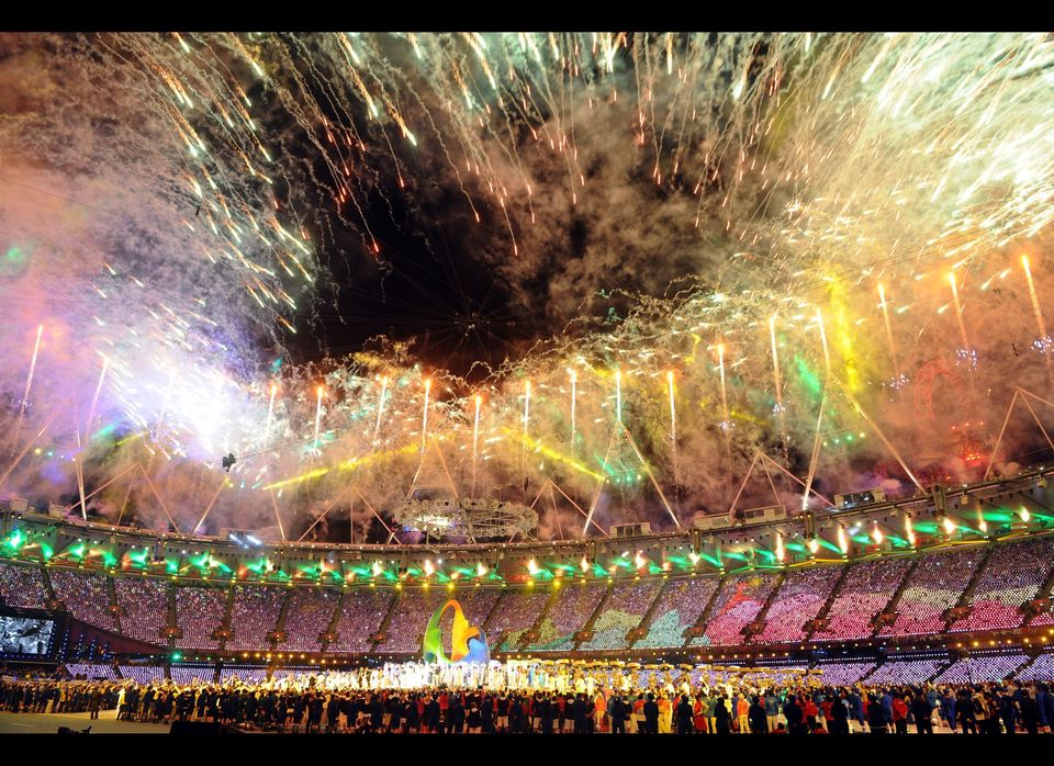 Fireworks during the closing ceremony of the London 2012 Olympic games, London