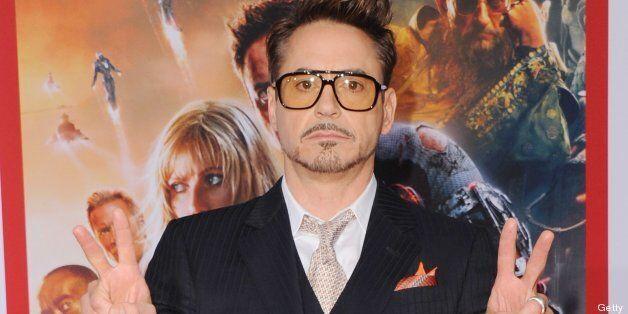 HOLLYWOOD, CA - APRIL 24: Actor Robert Downey Jr. arrives at the Los Angeles Premiere 'Iron Man 3' at the El Capitan Theatre on April 24, 2013 in Hollywood, California. (Photo by Jon Kopaloff/FilmMagic)