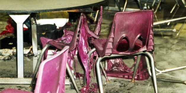 369420 07: The cafeteria after the wake of bombs and bullets from the Columbine High School massacre April 20, 1999 in Littleton, CO. The photographs of the incident were released in a voluminous CD-ROM report May 15, 2000. (Photo Courtesy of Jefferson County Sheriff)