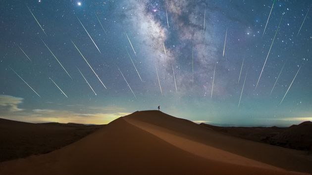 The Perseid meteor shower seen over the Tengger Desert in North China, in August 2020