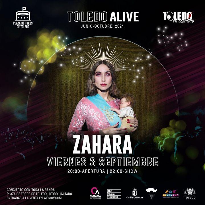 Cartel que anunciaba el concierto de Zahara en Toledo y que ha sido retirado.