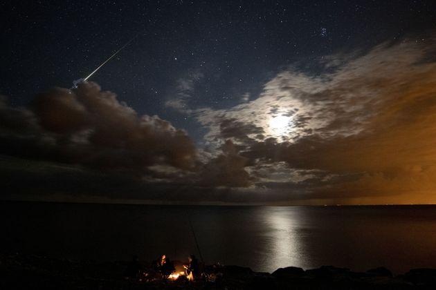 A Perseid meteor streaks across the sky over Yakakent district of Samsun, Turkey on August 14, 2020