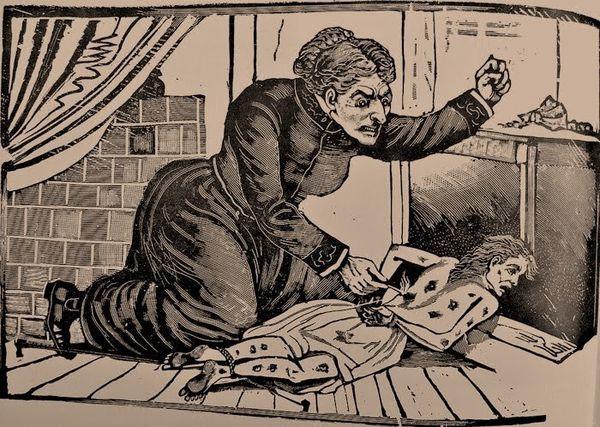 Ilustración de periódico de Guadalupe Martínez Bejarano, una de las primeras mujeres conocidas como asesinas seriales. A fina