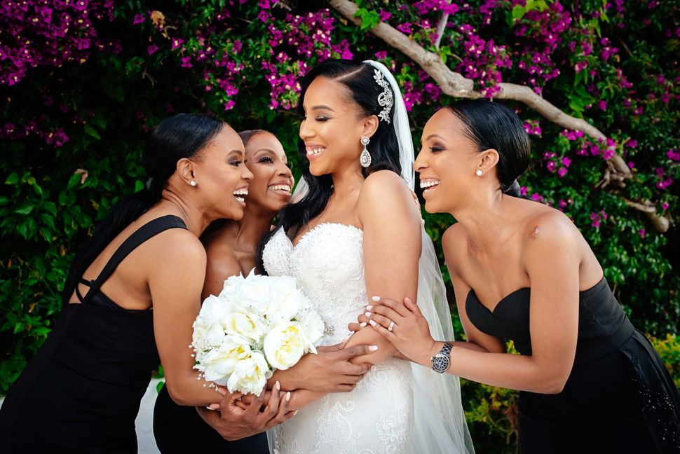 Danni Lancaster and sisters, at her wedding in Athens, Greece, in May 2019.
