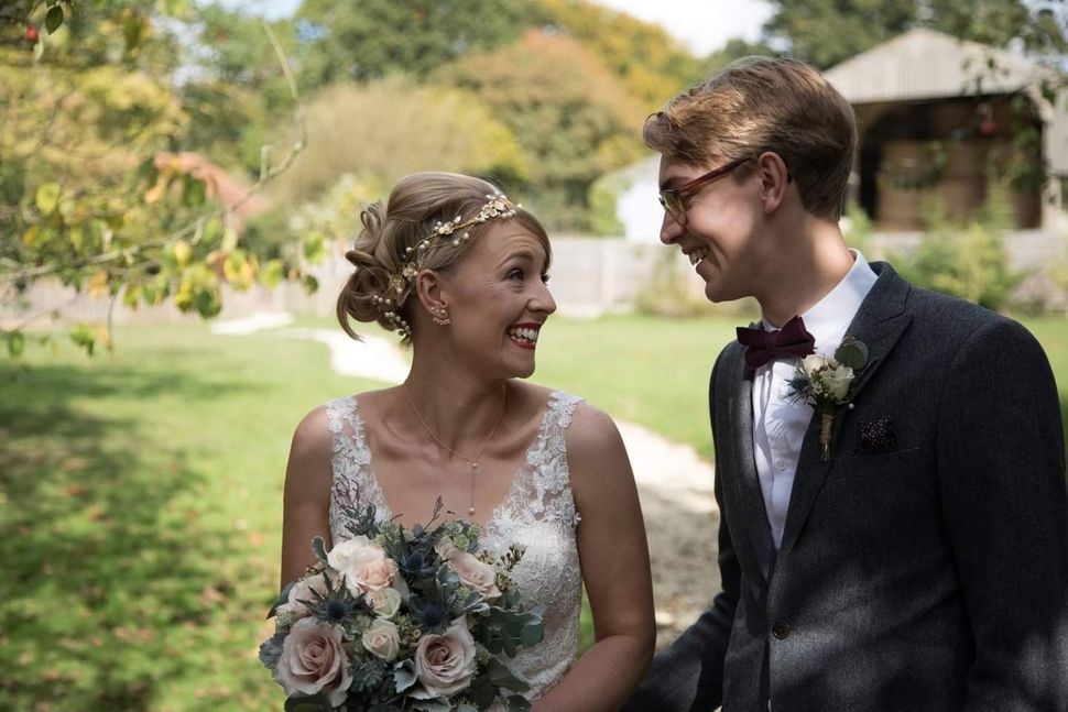 Charlie Bond and her brother at her wedding in Rolvenden, Kent, in October 2016.