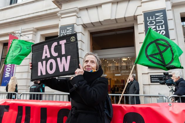 Activists from Extinction Rebellion and Stop HS2 gather outside Science Museum