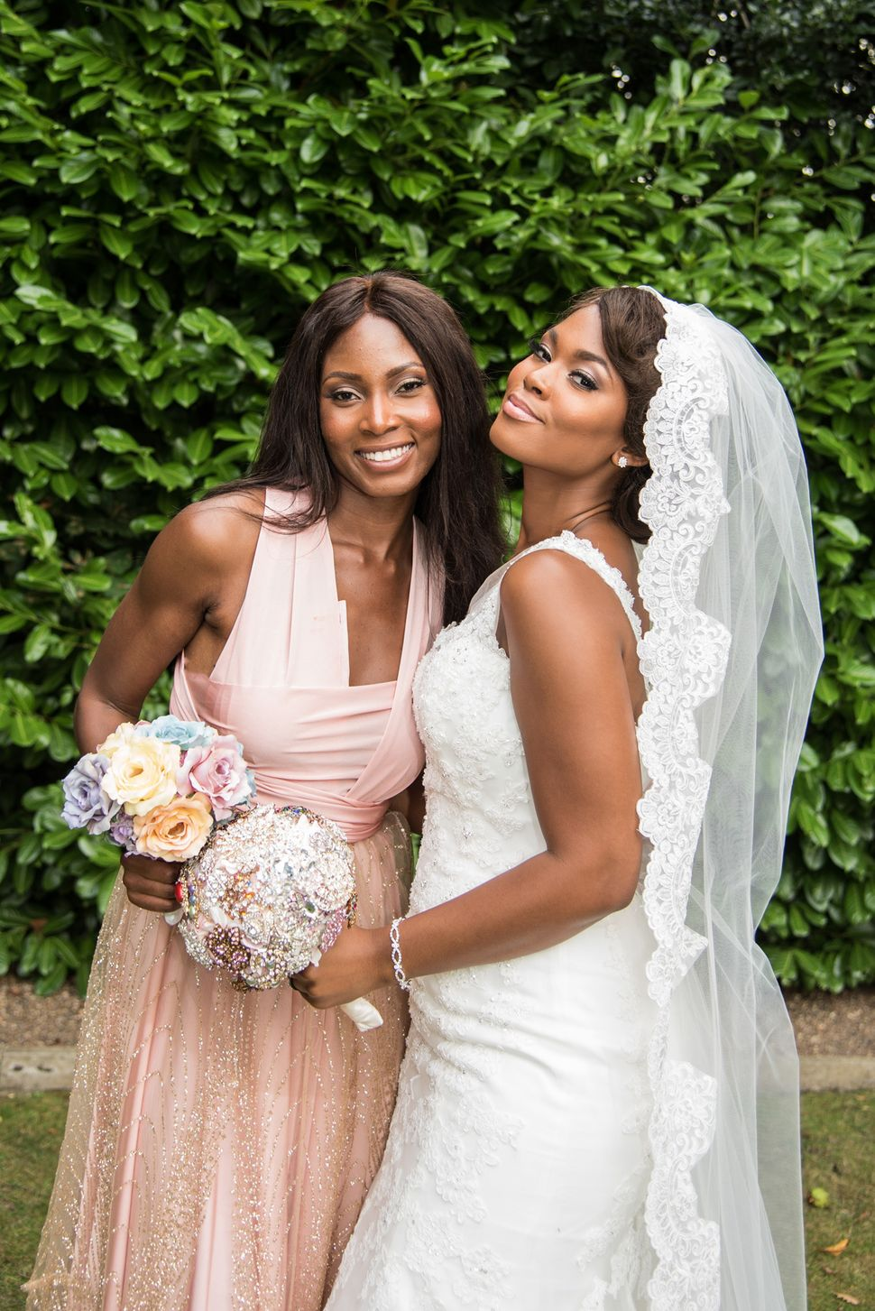 Rose Adaje with her sister Susanna Mensah at her wedding in Northwood, August 2016.