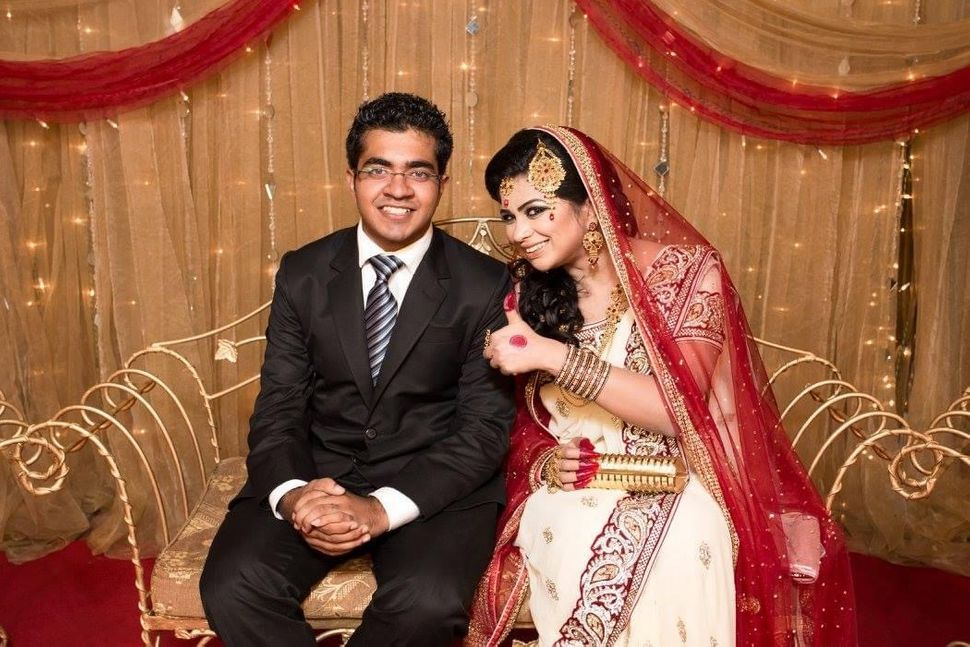 Farah Radford with her brother Rahat at her wedding reception in Bangladesh.