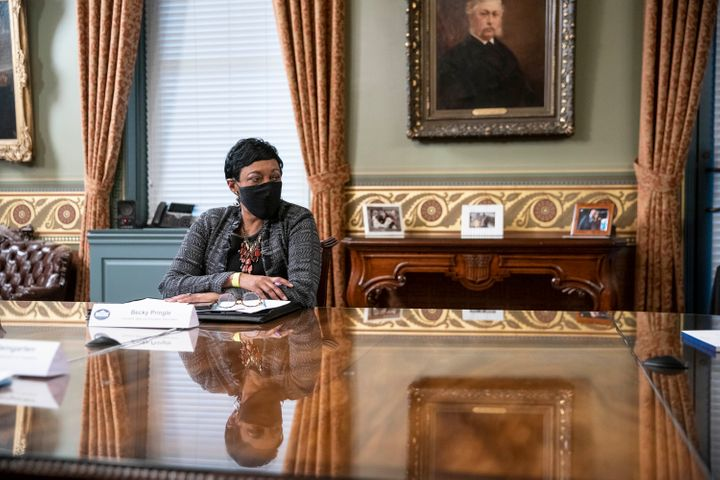 NEA President Becky Pringle, pictured at the White House in March, said unions should work with employers to implement vaccin