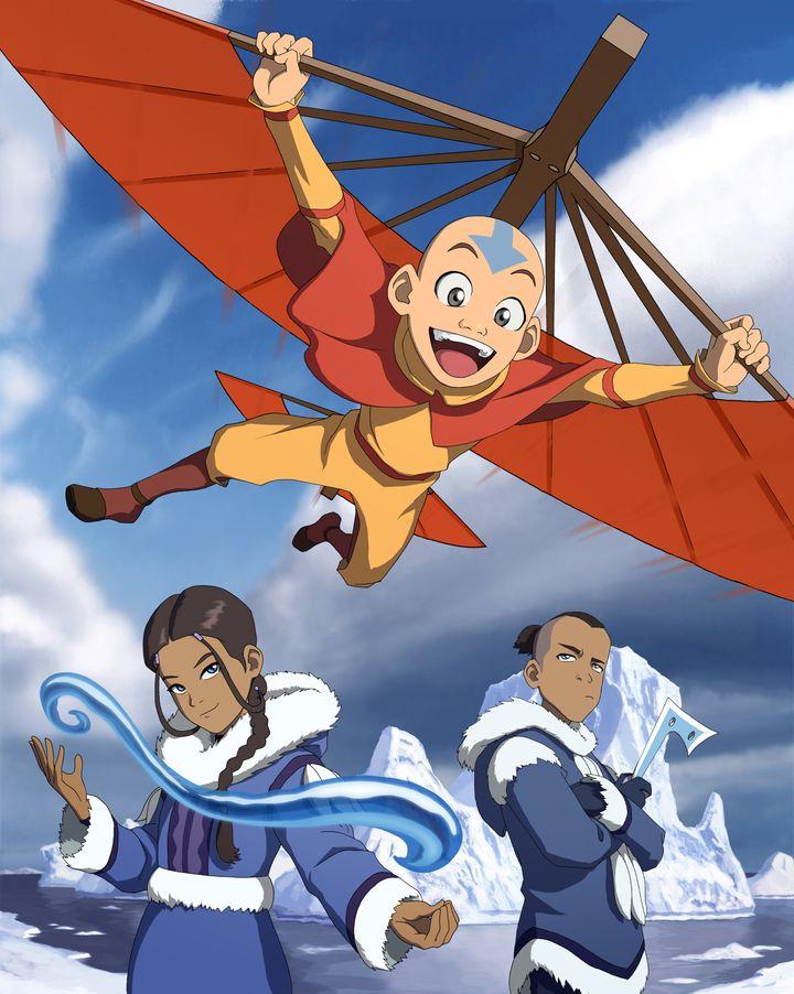 """Aang flies from his airbender staff as Katara and Sokka pose below in the original """"Avatar: The Last Airbender."""""""