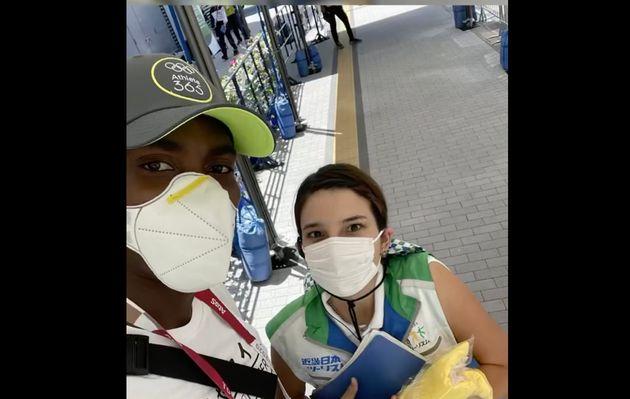 パーチメント選手と、再会した大会関係スタッフのティヤナさん