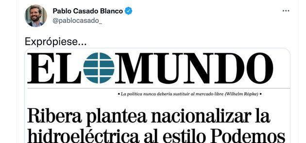 Tuit de Pablo Casado criticando la idea de una empresa pública de