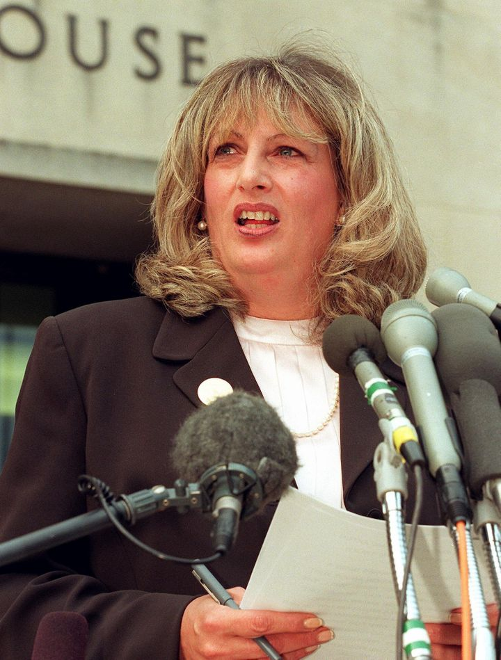 Linda Tripp talks to reporters outside of the Federal Courthouse during the time of the Clinton/Lewinsky scandal.
