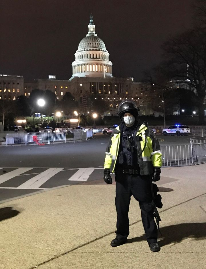 Officer Jeffrey Smith outside the Capitol on Jan. 6.