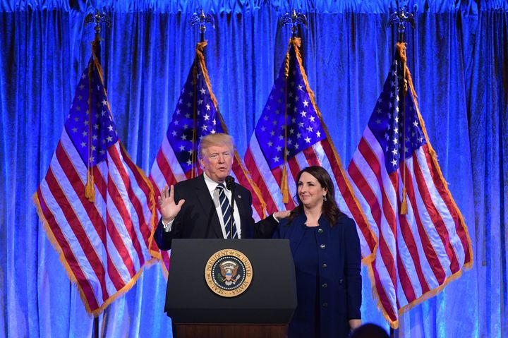 Then-President Donald Trump with RNC Chair Ronna Romney McDaniel at a fundraiser in New York on Dec. 2, 2017.