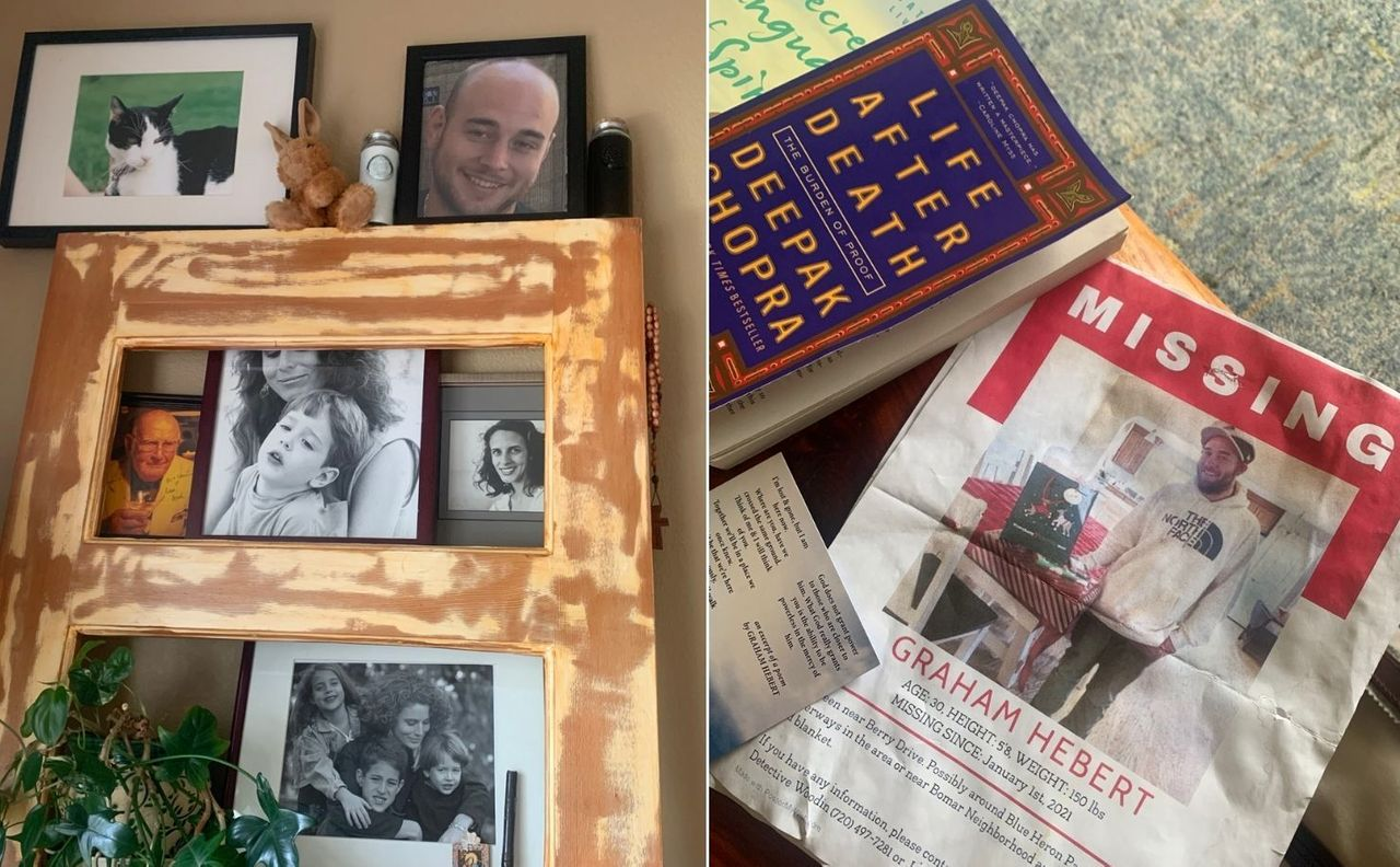 Left: In a prominent corner in her living room, Michele Bourgeois keeps photos of her son, Graham Hebert, and his liquid and bone remains (the two bottles on the top shelf). Right: A poster asking for the public's help in locating Hebert, who went missing on New Year's Day, 2021.