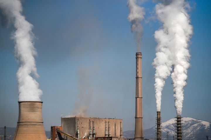 A picture taken on March 25 shows smoke and vapor billowing from the Bobov Dol Thermal Power Plant, a coal plant in Bulgaria.