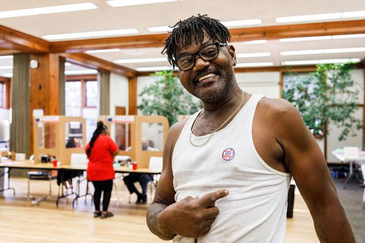 """A voter in Shaker Heights, Ohio, proudly displays a sticker saying he voted. Turner believes that depictions of her as an """"angry Black woman"""" cost her in Cleveland's affluent suburbs."""