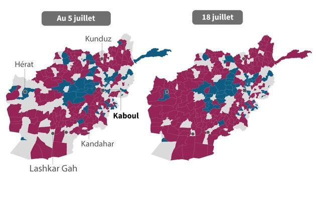 Carte de l'évolution des zones de contrôle du territoire afghan par le gouvernement ou les talibans,...