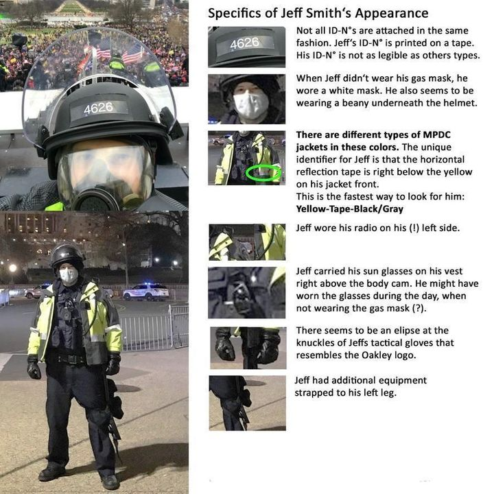 """The spec sheet that members of """"Team Jeff (4626)"""" came up with to find Officer Jeffrey Smith at the Capitol on Jan. 6."""