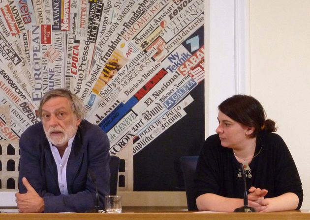 Founder of Italian medical charity Emergency, Gino Strada (L) and President of the charity, Strada's daughter Cecilia, answer questions during a press conference at the foreign press club on April 16, 2010 in Rome. The heads of Italian medical charity Emergency Friday defended the three employees who were detained over an alleged assassination plot in Afghanistan last weekend. AFP PHOTO / DAVIDE BERETTA (Photo credit should read DAVIDE BERETTA/AFP via Getty Images)