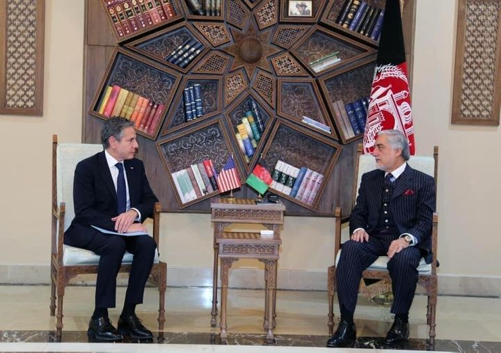 Secretary of State Antony Blinken meets Chairman of the High Council for National Reconciliation Abdullah Abdullah on the withdrawal of U.S. troops from Afghanistan in Kabul on April 15.
