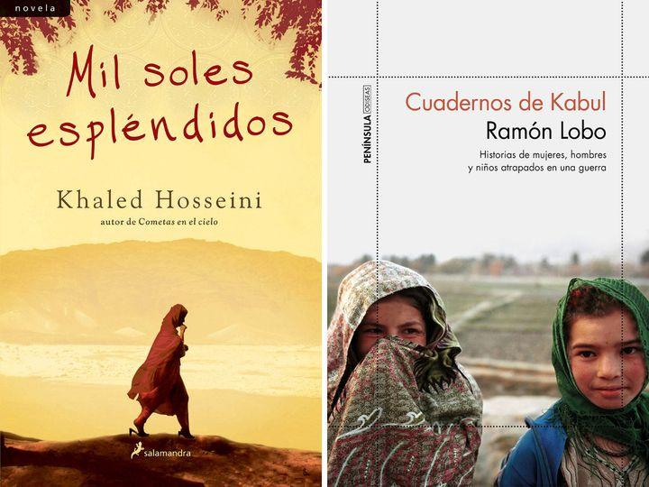 Portadas de 'Mil soles espléndidos' y de 'Cuadernos de Kabul'.