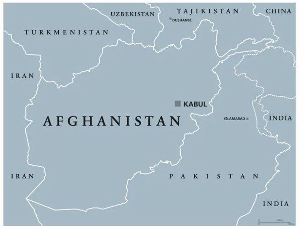 Carte politique de l'Afghanistan montrant les pays