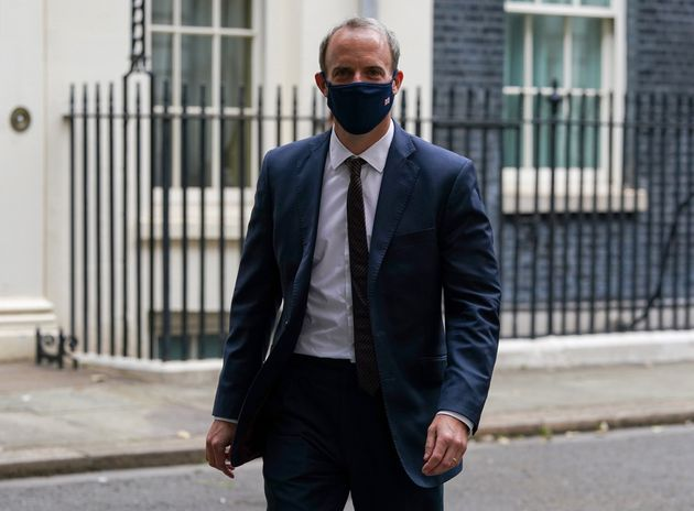 Foreign Secretary Dominic Raab leaving 10 Downing Street, London, after attending a Cobra