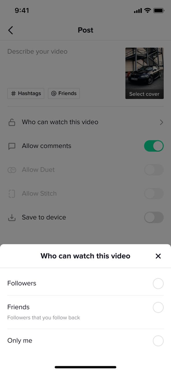 Pop-up que aparecerá a los menores a la hora de compartir un vídeo.