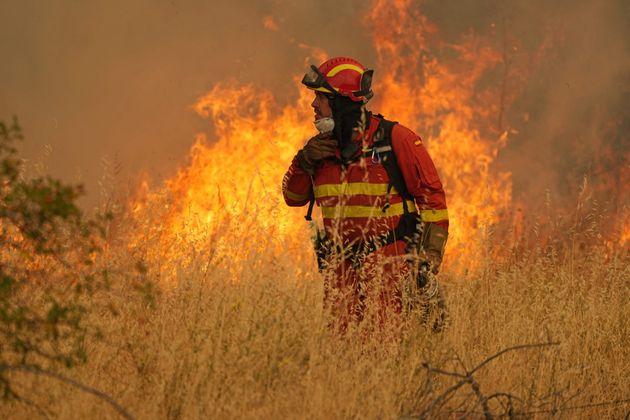 Bombero durante el operativo de extinción en el incendio de