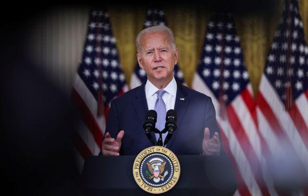 Presidente Biden durante el mensaje sobre la situación en
