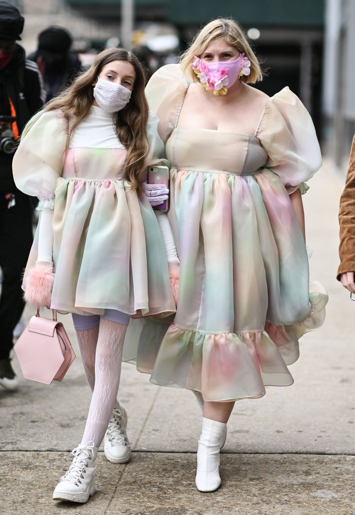 Ella Sophie and Michelle Blashka in Selkie puff dresses outside the Rebecca Minkoff show during New York Fashion Week on Feb. 16.