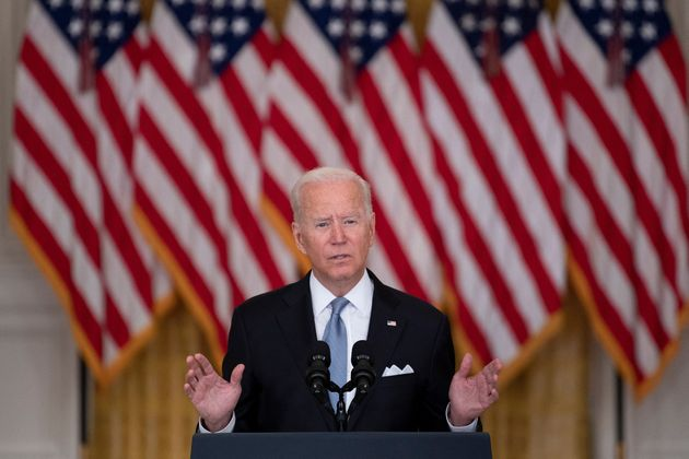 US President Joe Biden speaks about the Taliban's takeover of Afghanistan from the East Room of the White House August 16, 2021, in Washington, DC. - President Joe Biden broke his silence Monday on the US fiasco in Afghanistan with his address to the nation from the White House, as a lightning Taliban victory sent the Democrat's domestic political fortunes reeling. (Photo by Brendan Smialowski / AFP) (Photo by BRENDAN SMIALOWSKI/AFP via Getty Images)