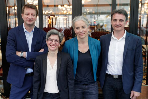 Quatre des cinq candidats à la primaire écologiste, Yannick Jadot, Sandrine Rousseau, Delphine...