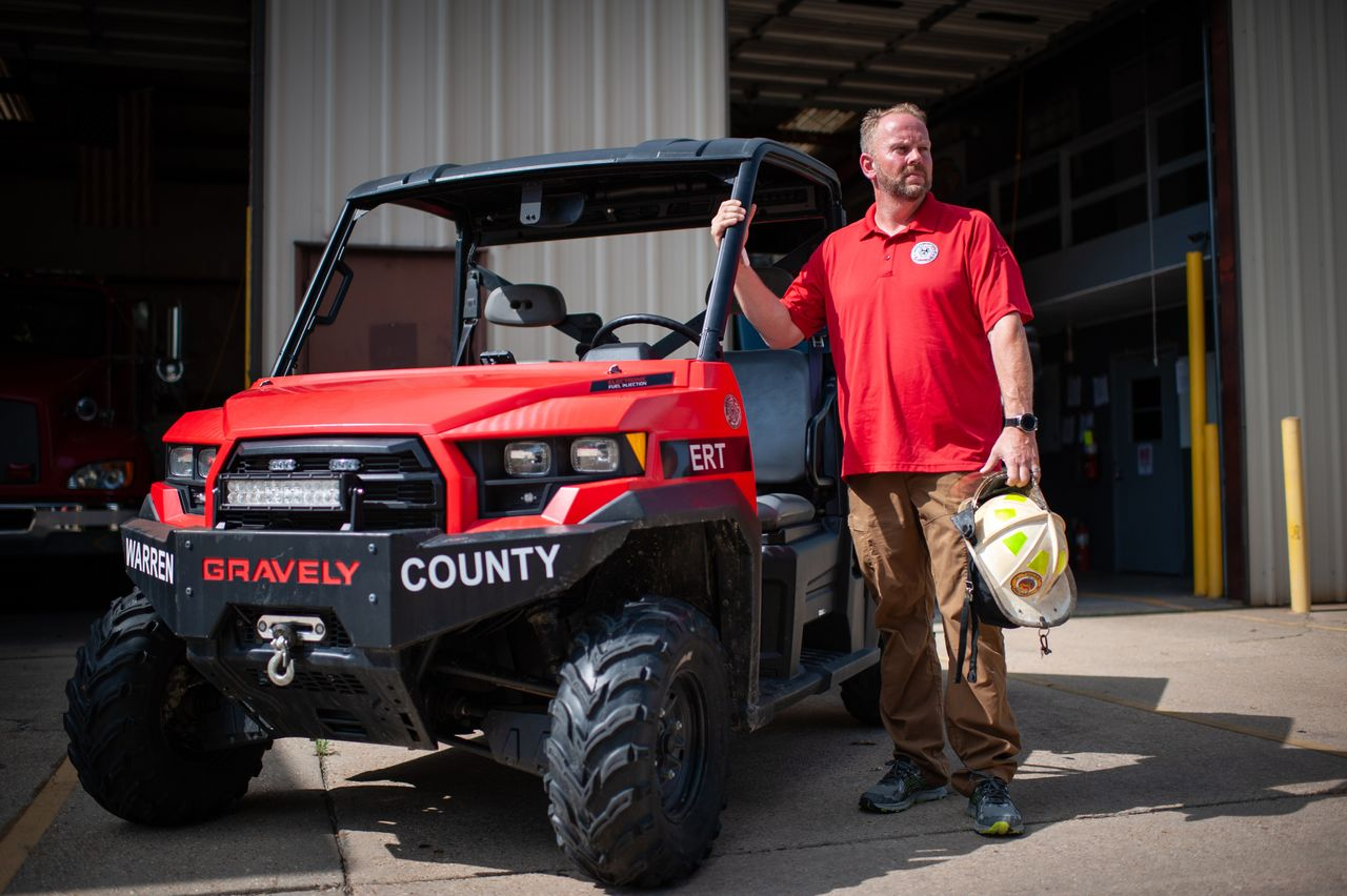Warren County firefighter Jerry Briggs in July with the utility task vehicle he used during the February 2020 gas leak in Satartia.<br><strong>Rory Doyle for HuffPost</strong>
