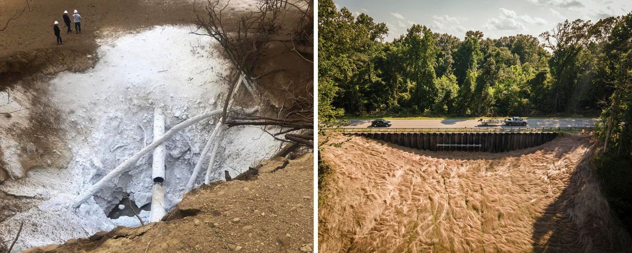 LEFT: The CO2 pipeline rupture. RIGHT: Vehicles pass over the pipeline explosion site in Satartia in July.<br><strong>Yazoo County Emergency Management Agency/Rory Doyle for HuffPost</strong>
